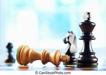 rey, blanco, ganador, ajedrez, defeats