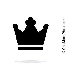 rey, blanco, icono, corona, fondo.