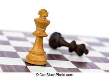 rey, blanco, negro, ajedrez, cheque