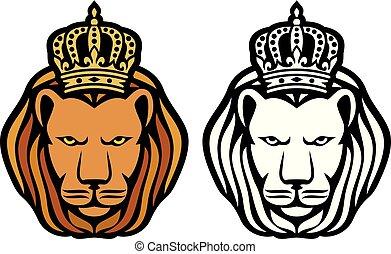 rey, cabeza, corona, -, león, real