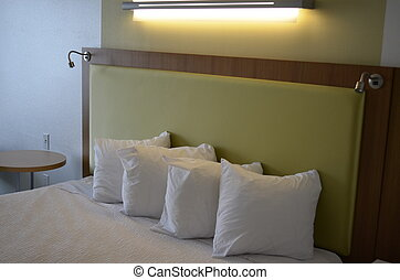 rey, cama, almohadas, y, colchón