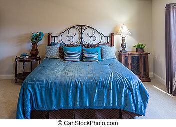 rey, cama, en, azul
