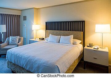 rey, cama, en, moderno, habitación de hotel