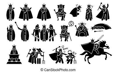 rey, caracteres, en, pictogram, set.