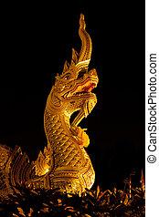 rey, chiangmai, budismo, naga, frente, templo