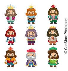 rey, conjunto, caricatura, iconos