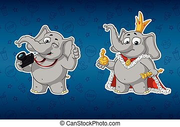 rey, conjunto, cartoon., fotógrafo, elephants., robes., vector, cámara., grande, stickers., pegatinas