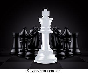 rey, contra, pedazos, negro, ajedrez, blanco hacia fuera, ...