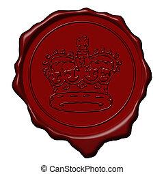 rey, corona, sello de lacrar