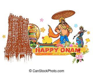 rey, cultura, actuación, kerala, onam, plano de fondo, mahabali