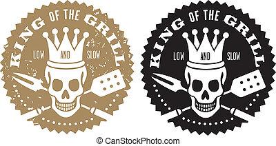 rey, de, el, parrilla, barbacoa, logotipo