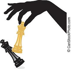 rey, derrotar, juego, vector, ajedrez, juego
