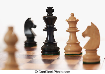 rey, desafiante, reina, juego, negro, ajedrez, blanco