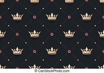 rey, diamante, oro, golpeteo, corona, seamless
