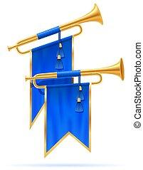 rey, dorado, real, ilustración, cuerno, vector, trompeta