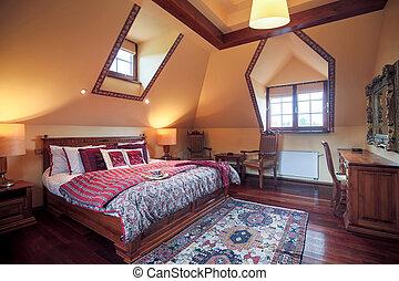 rey, dormitorio, cama, tamaño