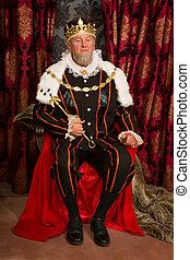 rey, en, trono