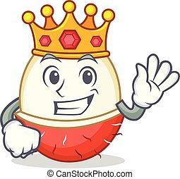rey, estilo, rambutan, caricatura, mascota