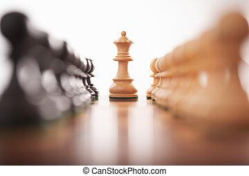 rey, filas, centro, dos, peones, ajedrez, blanco