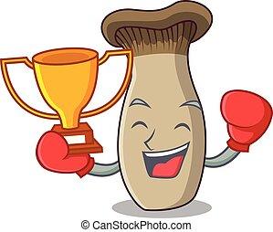 rey, ganador, hongo, boxeo, trompeta, caricatura, mascota