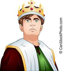 rey, hombros, corona, joven, arriba