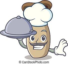 rey, hongo, alimento, chef, trompeta, caricatura, mascota