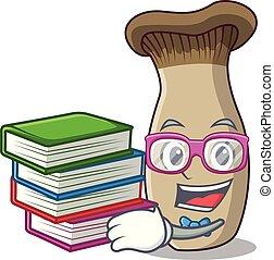 rey, hongo, libro, estudiante, trompeta, caricatura, mascota