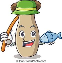rey, hongo, pesca, trompeta, caricatura, mascota
