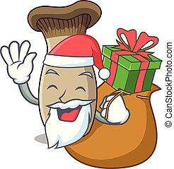 rey, hongo, regalo, santa, trompeta, caricatura, mascota
