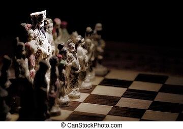 rey, juego, negro, blanco, cacerola