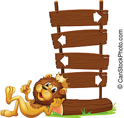 rey, león, signages, flecha