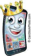 rey, móvil, corona, teléfono, caricatura, mascota