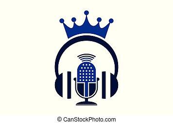 rey, micrófono, concepto, auricular, logotipo, icono