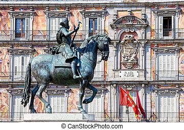 rey, plaza, estatua, philip, iii, alcalde
