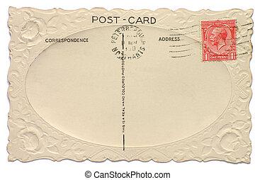 rey, postal, vendimia, penique, británico, uno, estampilla, ...