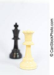 rey, reina, negro, ajedrez, plano de fondo, blanco