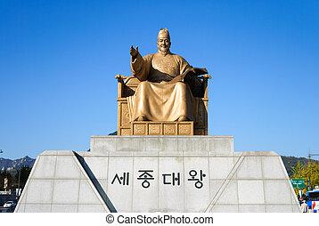 rey, sejong, estatua