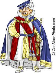 rey, sonrisas, fairytale, divertido, vector, caricatura