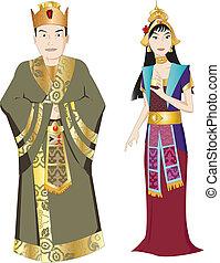 rey, tailandés, reina