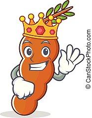 rey, tamarindo, mascota, estilo, caricatura