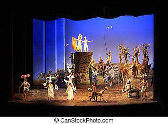 rey, theatre., minskoff, león, york., nuevo