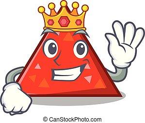 rey, triangel, mascota, estilo, caricatura