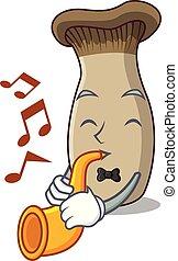 rey, trompeta, caricatura, hongo, mascota