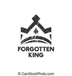 rey, vector, diseño, plantilla, olvidado, logotipo, icono