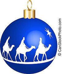 reyes, 3, ornamento, navidad