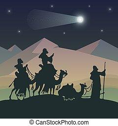 reyes, magi, vector, ilustración