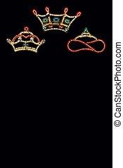 reyes, tres, crowns.