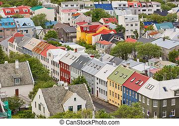 reykjavik, antenn, iceland., synhåll