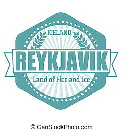 Reykjavik capital of Iceland label or stamp on white, vector...
