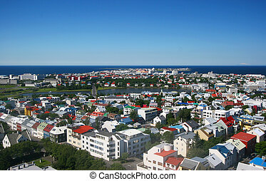 Reykjavik - capital of Iceland - Aerial view of downtown...